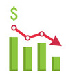 declining graph flat icon business and finance vector image vector image