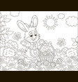 easter bunny with a basket of painted eggs vector image vector image