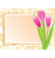 festive card with pink tulips vector image vector image