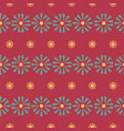 folk daisies on red seamless pattern vector image