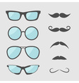 Glasses and mustache moustaches icon set Isolated vector image