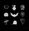 halloween scary symbols chalk vector image