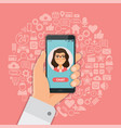 hand with smartphone chat on background with vector image vector image