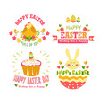 happy easter isolated icons religious holiday cake vector image