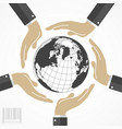 human hands around the world vector image