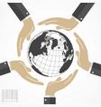 human hands around world vector image