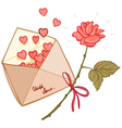 letter filled with hearts and a rose vector image