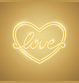 love heart yellow neon banner vector image