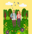 lovers in forest green nature leisure vector image vector image