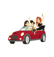 modern prince driving cabriolet car happy friends vector image vector image