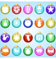 New year icons on colored balloons blue background vector image