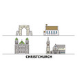 new zealand christchurch flat landmarks vector image vector image