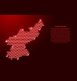 north korea map from 3d red cubes isometric