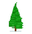 pixel fir tree isolated on white background vector image
