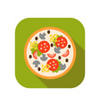 pizza with mushrooms tomatoes sausage and cheese vector image vector image