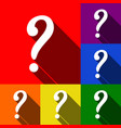 question mark sign set of icons with flat vector image vector image