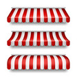 realistic set of striped awnings for shops vector image vector image