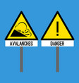 road sign avalanches snowslide or snowslip rapid vector image vector image
