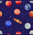 seamless pattern with solar system planets and vector image