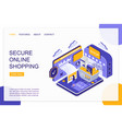 secure online shopping isometric landing page vector image vector image