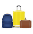set a bag luggage suitcase and backpack vector image