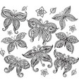 set butterfly in doodle style vector image