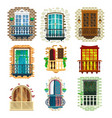 set classic balcony with banister porch pots vector image vector image