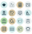 set of 16 education icons includes opened book vector image