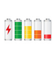 set of battery charge level indicator on white vector image vector image