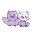 silhouette cute couple fox wild animal with vector image vector image