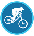 silhouette of a cyclist on blue round background vector image