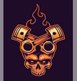 skull with crossed pistons and fire vector image vector image