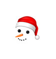 snowman face 3d realistic snowman isolated white vector image vector image