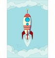 Space rocket flying in sky vector image