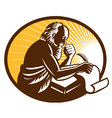 st jerome old male saint writing vector image vector image