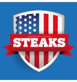 Steaks vintage shield with USA flag vector image vector image