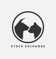 stock exchange icon bull and bear symbol trade vector image vector image