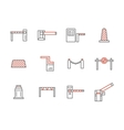 Traffic barriers simple line icons set vector image