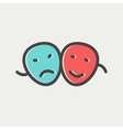Two mask thin line icon vector image vector image