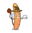 witch baguette mascot cartoon style vector image vector image