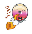 with trumpet jelly ring candy mascot cartoon vector image