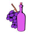 bottle of wine grape branch icon cartoon vector image