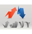 Colorful polygonal origami arrows set vector image