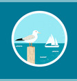 badge with seagull and ship vector image