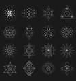sacred geometry set on black background vector image
