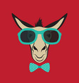 donkey wearing blue glasses vector image