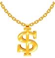 Gold dollar symbol on golden chain hip hop vector image