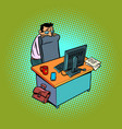 a scared and timid male businessman works at an vector image vector image