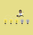 african businessman jump on light bulbs vector image vector image