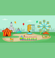 amusement park horizontal banner cartoon style vector image vector image